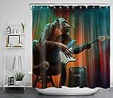 WANGXIAO Rockero Divertido chimpancé Tocando la Guitarra 12 Ganchos para Cortina de Ducha decoración de baño Impermeable