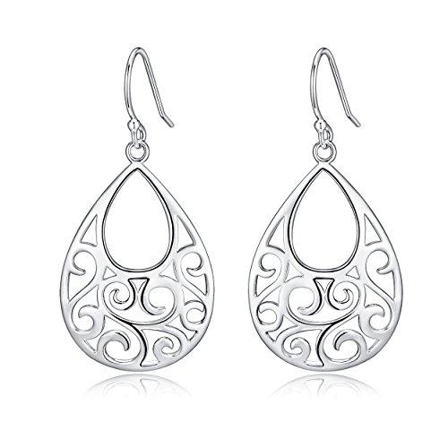 Sterling Silver Filigree Minimalist Design Of Peacock Dangle Drop Earrings For Sensitive Ears By Renaissance Jewelry