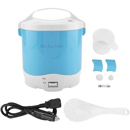 Arrocera mini de 1.6 litros, 24 V 180 W Arrocera eléctrico de alimentos Fiambrera portátil para calentar alimentos con cazo extraíble Olla de vapor ...