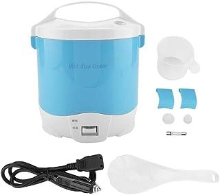 Arrocera mini de 1.6 litros, 24 V 180 W Arrocera eléctrico de alimentos Fiambrera portátil para calentar alimentos con cazo extraíble Olla de vapor Cuchara para medir la taza para Camión, (Blue)
