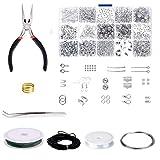 JZK Jewelry making kit con alicates y cordón de hilo para hacer bisuteria pulseras DIY collares aretes, set de accesorios pequeñas de reparación para hacer bisutería