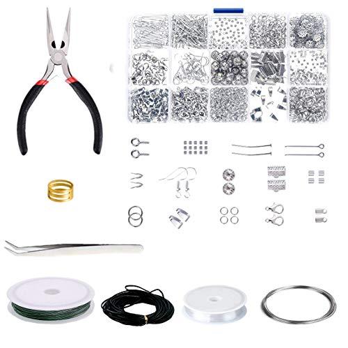 JZK Set Accessori minuteria per bigiotteria Creazione di gioielli Kit con pinze e cordino per bigiotteria Orecchini Fai da Te Creazione braccialetti collane