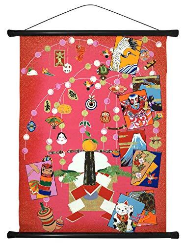 【Amazon.co.jp 限定】和紙かわ澄 総柄 友禅和紙 タペストリー (お正月飾り, 58×46cm) お正月飾り