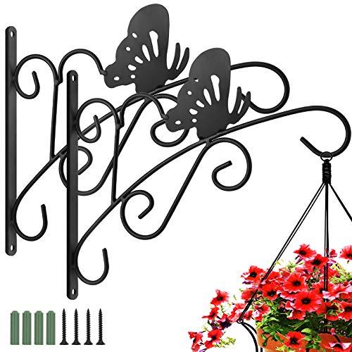 Luxspire Retro Blumenampel Wandhaken, 2 Stück Pflanzenhalter Metall Wandhalter Haken mit Schmetterling Muster und Schraube Hängeampel für Garten Draußen Blumentopf Windspiele Laterne Hängen, Schwarz