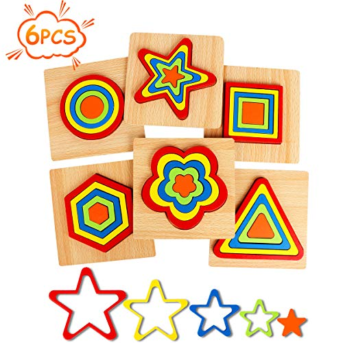 Toddler Puzzles Games Wooden Toys Montessori Shape Sorting Puzzle Toddlers Activities Preschool Learning Early Educational Gift for Kids Age 1-2 1-3 2-4 5 6 Year Old
