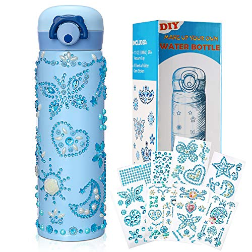 Decorate Your Own Water Bottle for Boys Girls Gifts Arts and Crafts for Kids with Rhinestone Glitter Gem Stickers Leakproof BPA Free 500 ML Water Bottle Kids Birthday Presents Gifts for Children