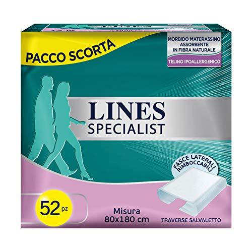 Lines Specialist Traversa, 52 Assorbenti per Incontinenza Uomo e Donna (4 confezioni da 13 pezzi) , 80x180 cm