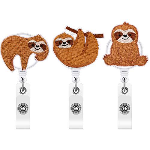 3 Pieces Sloth Badge Reel Cute Felt Badge Reel Holder Retractable Badge Reel Clip for Women Nurse ID Card Name Card Supplies