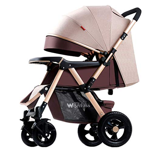 Vouwen Lichtgewicht Stroller,4 Wheel Pushchair all Terrain,Compact Reizen Buggy voor vliegtuig,Pram Reissysteem 2 In 1,Large-Capacity Storage Basket, Van geboorte tot 25 Kg, met regenhoes