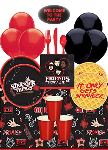 Stranger Things Party Supplies Pack With Stranger Things Dinner and Dessert Plates, Cups, Napkins, Tablecover, Cutlery, Balloons, and Sticker by JPMD