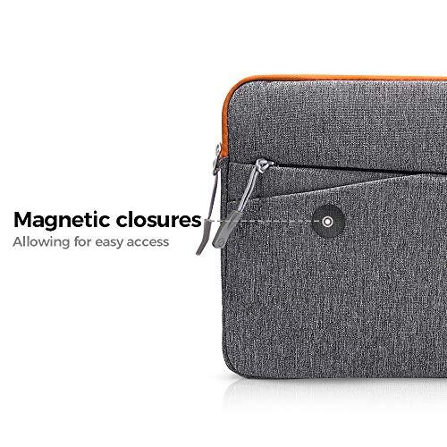 tomtoc 33-13,3 Zoll MacBook Air/MacBook Pro Retina / 12,9 Zoll iPad Pro Sleeve Case Schutzhülle Laptop Tasche Grau und Orange 24,6 cm (9,7 Zoll)