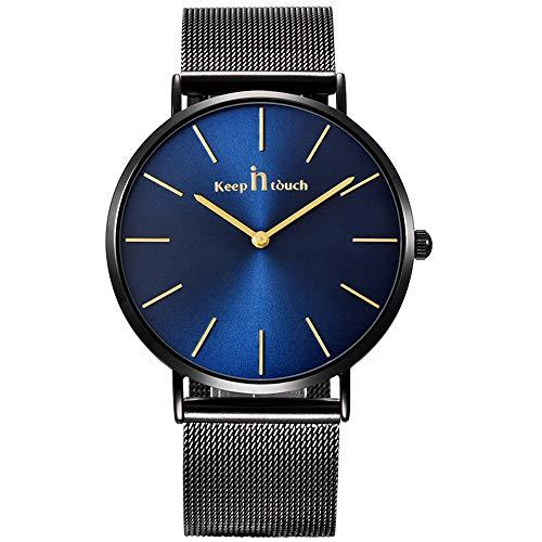 Infinito U-Reloj de Cuarzo Reloj Azul Ultra Fino para Hombre Minimalista Moda Relojes de Pulsera para Hombres Vestir Casual Impermeable con Banda Negro de Acero Inoxidable