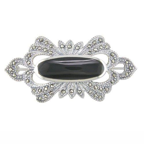 Sterling Silver Brooch Fancy marcasite/oval onyx Brand New