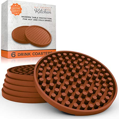Large Drink Coasters Absorbs Moisture and Prevents Table Damage Modern Brown Rubber Coaster product image