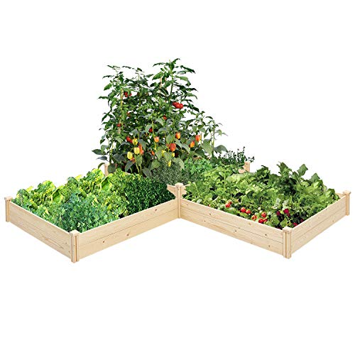SUNCROWN Outdoor Wooden Raised Garden Bed Planter Box Kit for Vegetables Fruits Herb Grow,Patio or Yard Gardening,9ft - Natural