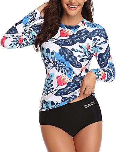 Daci Women Blue Flower Rash Guard Long Sleeve Bathing Suit with Built in Bra Swimsuit UPF 50 M