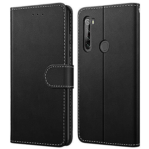 WE LOVE CASE Hülle für Xiaomi Redmi Note 8T, Schutzhülle/Klapphülle Flip Leder Hülle Abnehmbare Tasche mit Standfunktion Handyhülle mit Kartenfächer Magnetverschlüsse für Xiaomi Note 8T, Schwarz