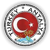 Türkei Antalya Siegel Aufkleber rund Flagge für Laptop Buch Kühlschrank Gitarre Motorrad Helm...