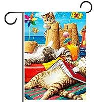 ガーデンヤードフラッグ両面 /12x18inch/ ポリエステルウェルカムハウス旗バナー,猫のビーチコーマー