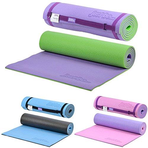 just be... Tappetino Fitness - Tappetino Yoga - Tappeto da Palestra Antiscivolo - Materassino da Campeggio con Cinghia Tracolla Tappeto Pilates 180 cm x 60 cm - Spessore 10 mm Viola/Verde