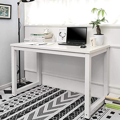 Symylife Computertisch, Schreibtisch, PC-Tisch, Bürotisch, Arbeitstisch,multifunktional Home-Office-Schreibtisch, leicht montiert 120 x 60 x 75cm, Weiß