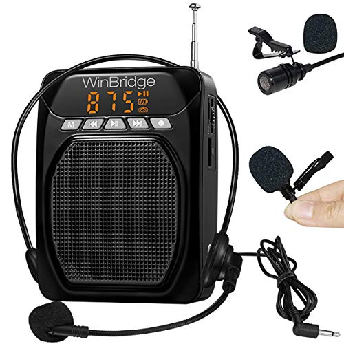 WinBridge Voice Amplifier for Teachers Speaker Bluetooth Portable with Lavalier Lapel Microphone Click On and Headset Microphone, Personal PA System for Voice Amplification 15W|1800mAh M700 Plus