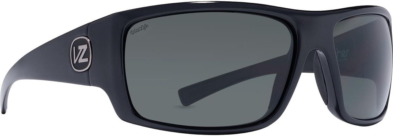 VonZipper Unisex Suplex Polarized Black Gloss Vintage Grey Wildlife Polarized Lens Sunglasses