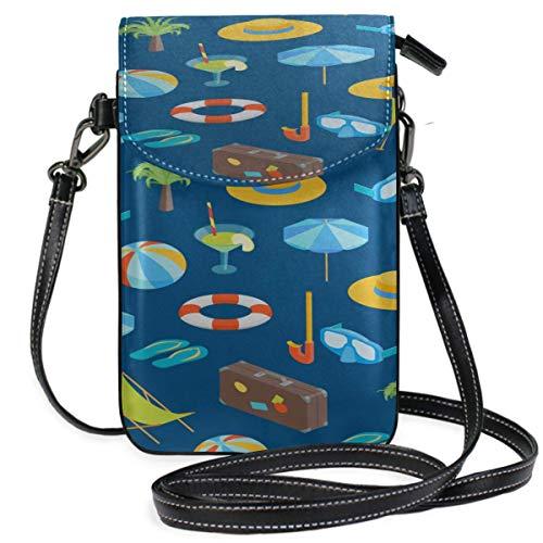 Lawenp Leather Purse Crossbody Bag Colorful Beautiful Beach Slippers Print Crossbody Bags Phone Phone Zipper Bag Purse Wallet Travel Passport Bag Handbags For Women
