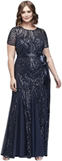 Short-Sleeve Sequined Illusion Plus Size Mother of Bride/Groom Gown Style 1875W