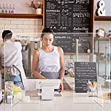 RUNS Pantalla Protección Mostrador, Mampara de Protección de Metacrilato Transparente Separador para Supermercados, Recepciones, Hoteles 80 * 48cm