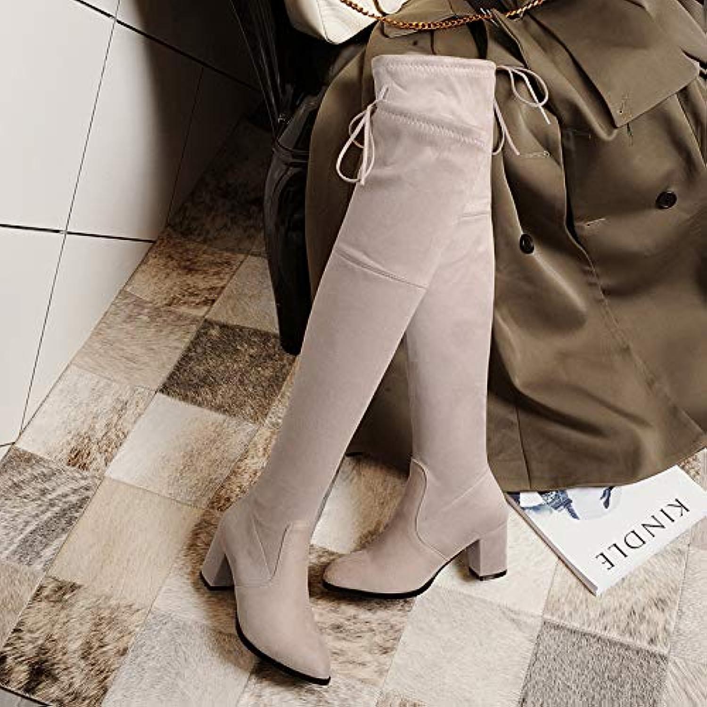 HOESCZS Frauen Schuhe Herbst Und Winter Modelle Stretch Stiefel Waren Dünn Und Dick Hoch Mit Knie Stiefel Wies Große Größe Damen Stiefel  | Abrechnungspreis