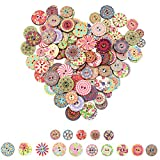 Mox 145 Pcs Rétro Boutons en bois Ronde Mixte Bouton de Formes Fleurs Couleurs Assorties Boutons avec 2 Trous pour l'artisanat,Confection de Bricolage (15mm, 20mm, 25mm)