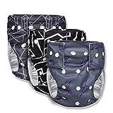 Joyo roy - Set de 3pcs Pañales de Baño Lavables para Bebé Tela de Reutilizables Impermeables Aprendizaje Pantalones Corto Ajustables a Prueba de Fugas Entrenamiento para Niños 0-3 años