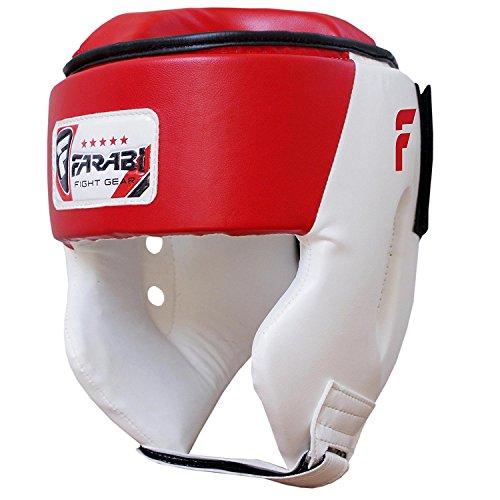 FARABI Protector de Cabeza de Boxeo, protección para la Cabeza de Boxeo, Piel Rex, Color Rojo y Blanco (Grande)