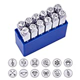 BENECREAT 12 Pack (6mm 1/4') Design Stamps, Metal Punch Stamp (Nature Theme) Stamping Tool Case - Electroplated Hard Carbon Steel Tools to Stamp/Punch Metal Jewelry Leather Wood