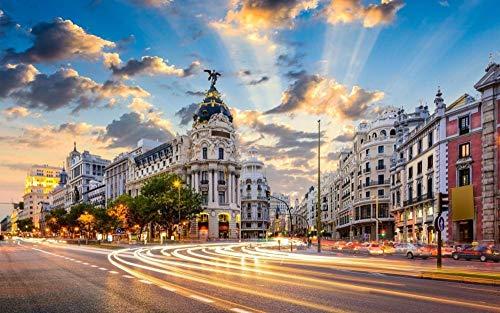 OKOUNOKO Puzzles 1500 Piezas Adultos, Madrid, Puesta De Sol, Edificios, Decoración para El Juego De Juguetes para El Hogar, 87X57Cm