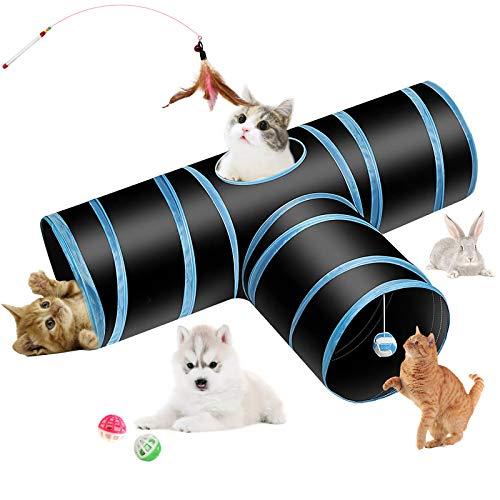Hyselene Tunnel per Gatti,Tubo a Tunnel Pieghevole a 3 Vie con Pompon e Campanelle Piuma,Utilizzato per Tunnel Gatto Interni ed Esterni per Gatti,Conigli, Cani,Animali Domestici