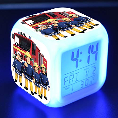xiaohuhu Pompier Sam Petite Equipe De Sauvetage LED Sept Couleurs Créatif Réveil Ambiance Enfants Cadeaux
