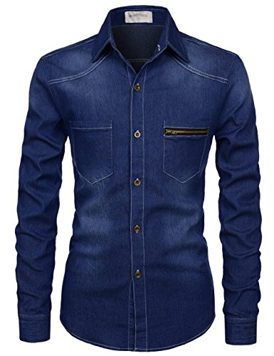 TheLees (NKTHS603) Slim Fit Long Sleeve Ultimate Spandex Washing Denim Shirts BLACK US M(Tag size M)