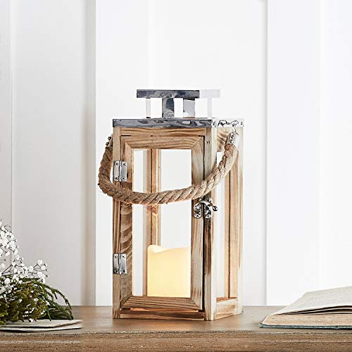 Lights4fun Salcombe Holz Laterne mit LED Kerze Batteriebetrieb Timer 28cm