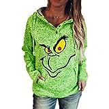 Sweat-Shirt À Capuche Femme, Sweat avec Capuche Femme Sweatshirt Pull Hoodie Impression De Grinch NoëL Sweat DéContracté Chic Automne Hiver avec Poche Pullover