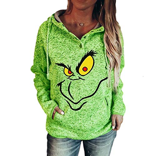 Women's Christmas Sweatshirt Face Green Raglan Sweatshirt Hoodie Face Green Raglan Long Sleeve Sweatshirt