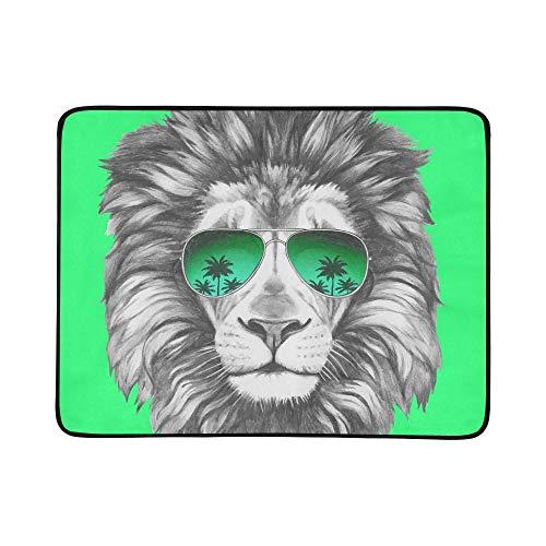 KAOROU Hand gezeichnete Porträt-Löwe-Sonnenbrille tragbare und Faltbare Deckenmatte 60x78 Zoll handliche Matte für kampierenden Picknick-Strand