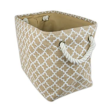 """DII Collapsible Burlap Storage Basket or Bin with Durable Cotton Handles, Home Organizational Solution for Office, Bedroom, Closet, Toys, & Laundry (Large – 18x12x15""""), White Lattice Outline"""