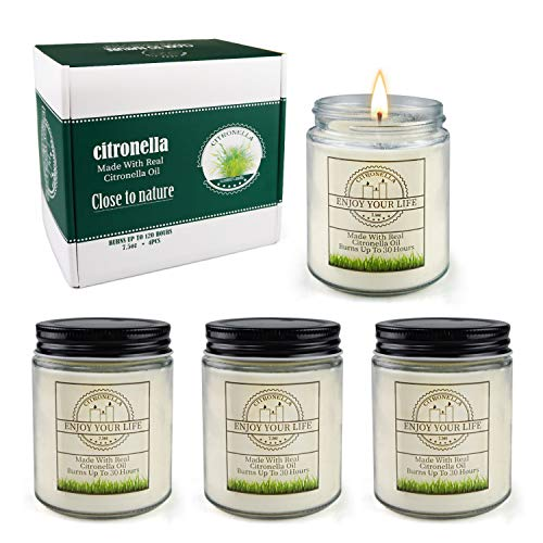Citronella Candles Outdoor Large Scented Jar Candles Set Aromatherapy Long Lasting Soy Wax for Home Garden Patio Balcony 7.5oz 4Pack