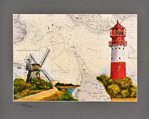 Kunstdruck Leuchtturm Falshöft & Mühle Charlotte, Geltinger Birk mit original signiertem Passepartout Fotograu von Thomas Kubitz