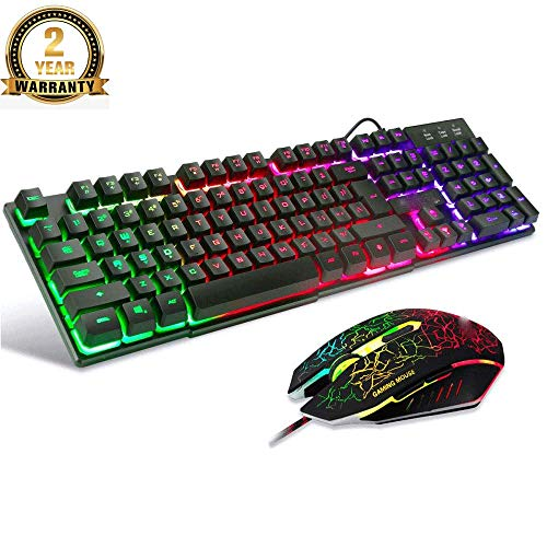 LED Backlit Backlit 7 Kleuren Helderheid USB Waterdichte Gaming Toetsenbord En Muisset, QWERTY Layout, Muis Met 2400DPI