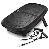 Axis-Plate Dual Motor Vibration Plate Exercise Machine with Resistance Bands - 3D Whole Body Fitness Platform - Black