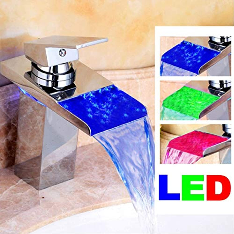 HVTKL LED Messing Finish Bad Wasserhahn Küchenarmatur Badewanne Waschbecken Mix Glas Wasserfall einzigen Griff