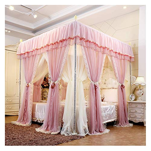 Bed Curtains for Girls Room 4 Corner Bed Canopy Mosquito Net for Indoor Phnom Penh Lace Dustproof Top Account Cloth Shading Mosquito(Size:for 1.2m/4 feet Bed)